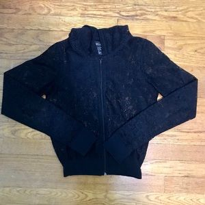 Black Lace Zip Up Hoodie